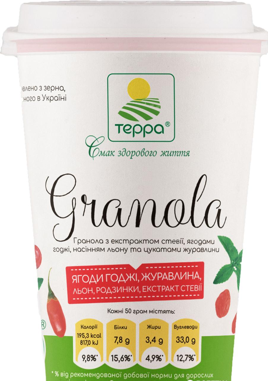 """Гранола з екстрактом стевії,ягодами годжі,насінням льону та цукатами журавлини (стакан)  50г """"Терра"""""""