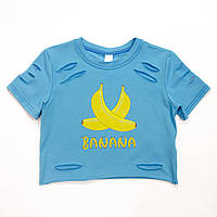 Футболка для девочки G-0025 голубая банан