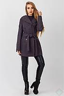 Пальто демисезонное женское с капюшоном Лондон серое 2cce45bc423c8