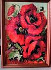 Алмазная вышивка маки 20х25 см, полная выкладка, квадратные стразы, фото 5