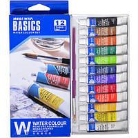 Краски акварельные 6 мл BASICS, 12 цветов Water