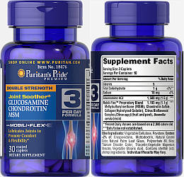 Puritan's Pride, Глюкозамин, Хондроитин и MCM, 30 таблеток (10 дней)
