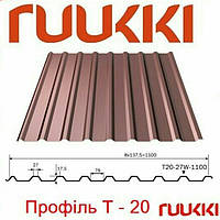 Профнастил Ruukki T20 RR 29, RR 887, 0.45 мм riuthmatt , глянец, Цинк 275.