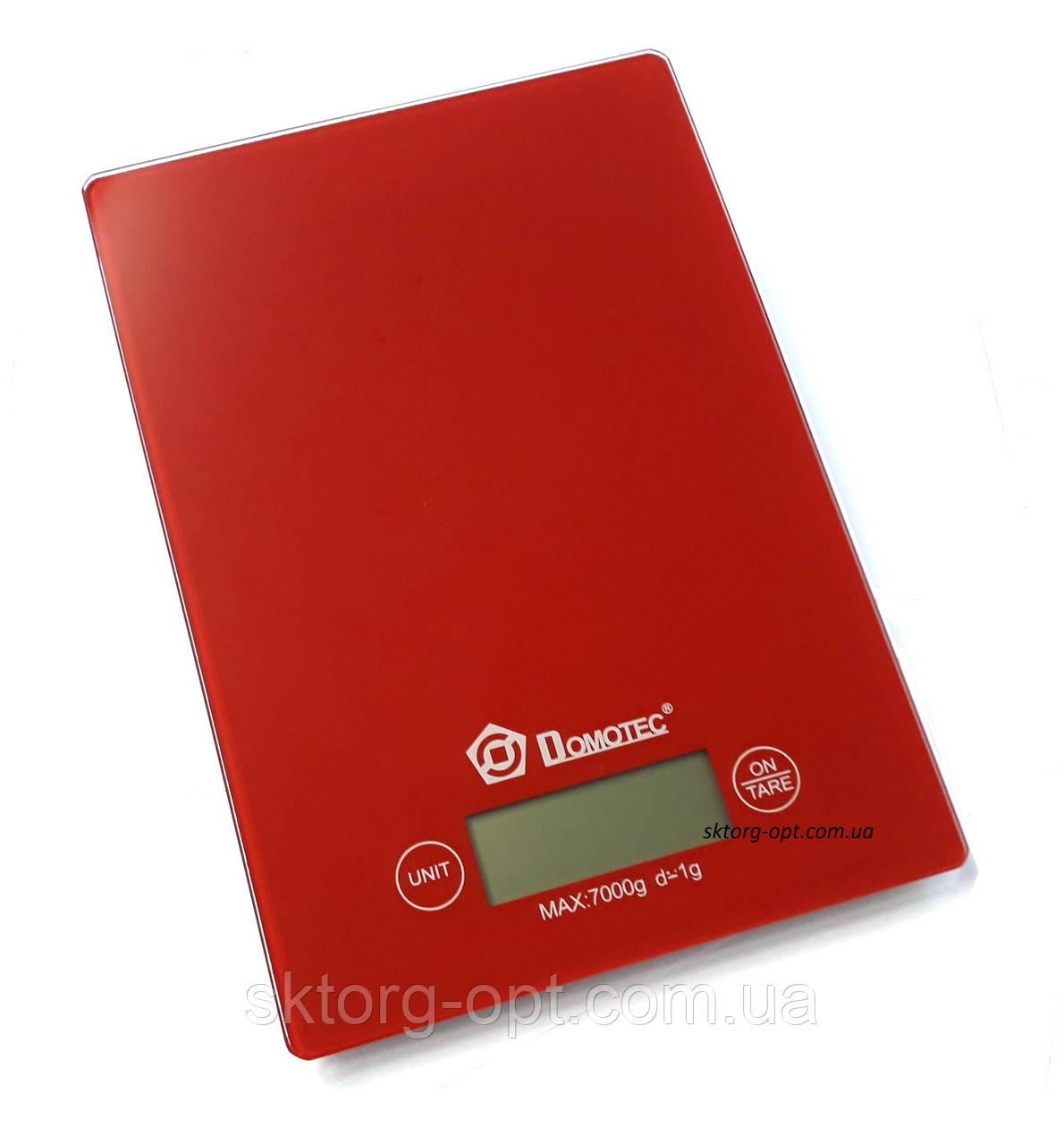 Весы кухонные Domotec MS-912 стекло до 7кг Красные