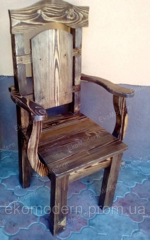 Стул деревянный под старину ВИКОНТ-Т с подлокотниками