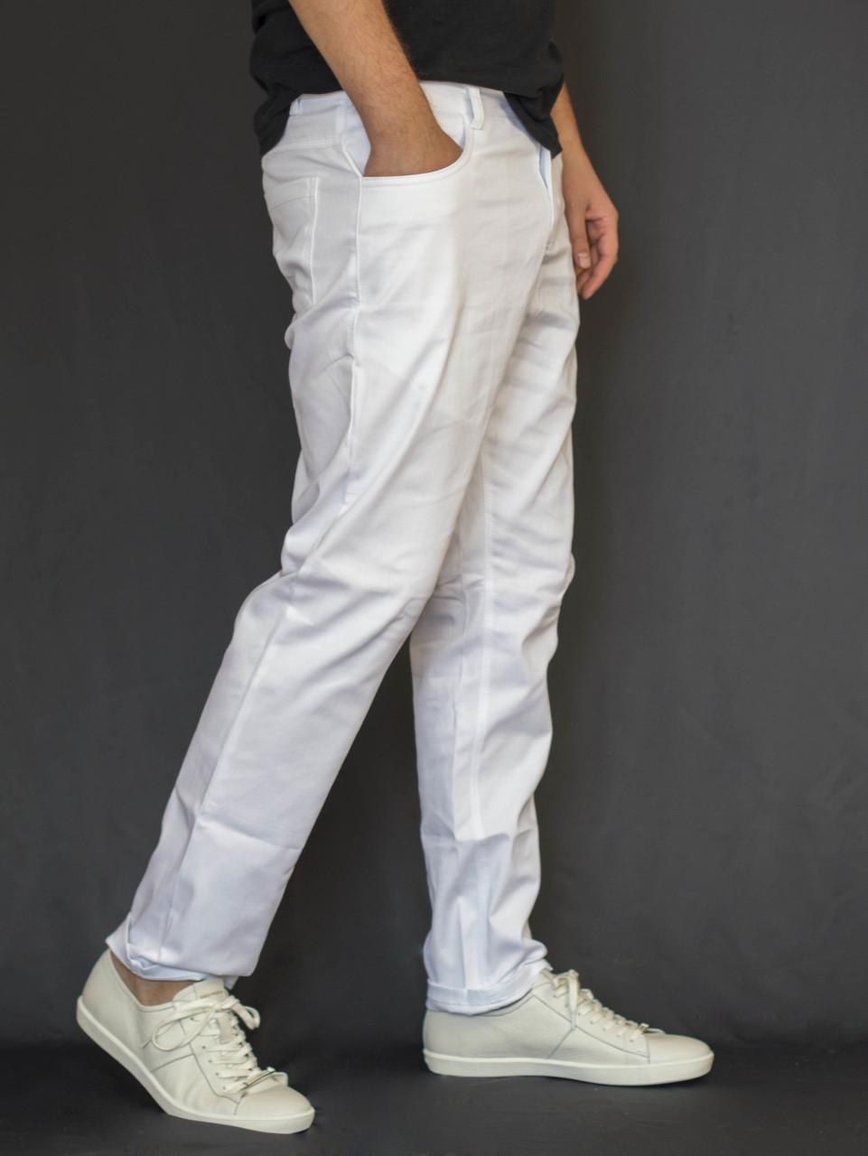 8fbb7fdb Мужские брюки чинос из хлопковой ткани белые - Интернет-магазин обуви и  одежды KedON в