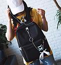 Рюкзак с лентами и цепью черный, фото 4