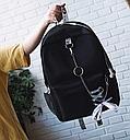 Рюкзак с лентами и цепью черный, фото 2