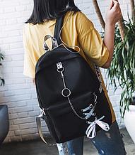 Рюкзак с лентами и цепью черный