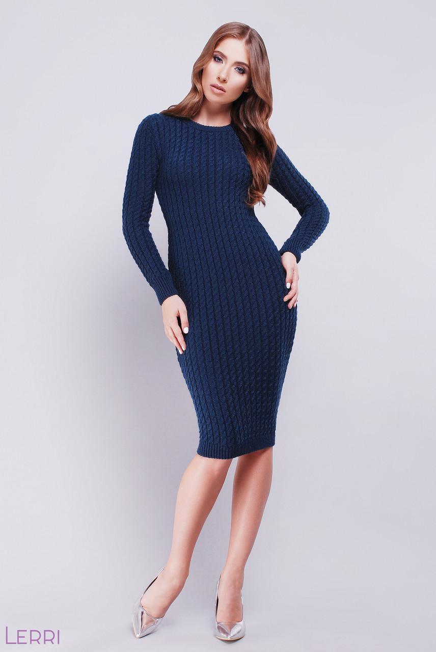 d95940ee660 Стильное вязаное платье средней длины длинный рукав по фигуре однотонное  вязаное темно синее