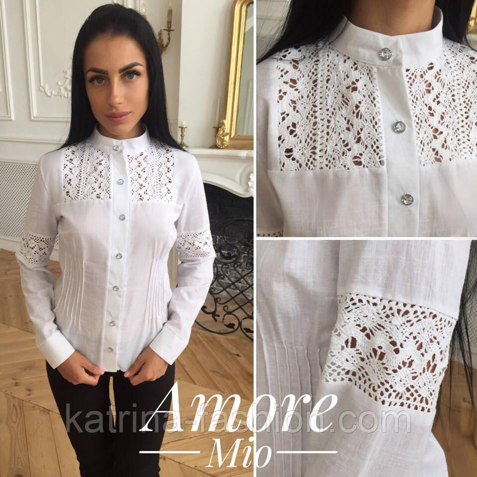 c19d7be7510 Женская стильная льняная блуза с кружевом  продажа