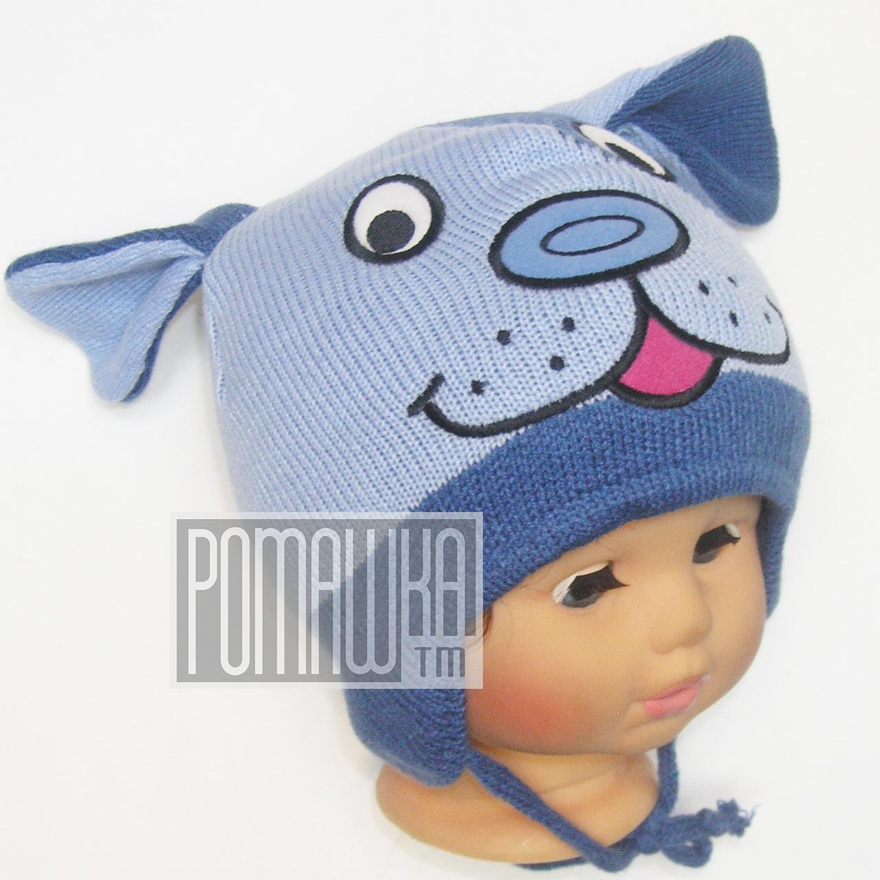 детская вязаная шапочка р 46 одинарная весенняя осенняя на завязках для мальчика