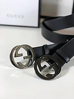 Кожаный ремень Gucci с пряжкой-логотипом серебро (реплика), фото 1