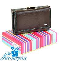 Кожаный женский кошелёк на кнопке Dr.Bond WRS-11 coffee (серия Rainbow), фото 1