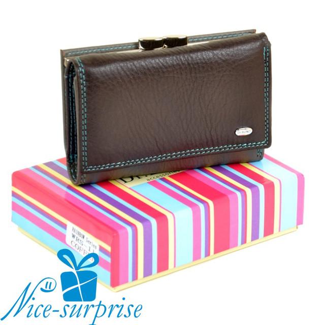 купить кожаный женский кошелёк на кнопке в Днепре
