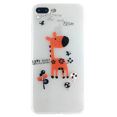 Чехол накладка на iPhone 6/6s красный жираф, плотный силикон