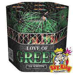 Cалют LOVE OF GREEN 30мм. 19 выстр. Пиротехника и фейерверки