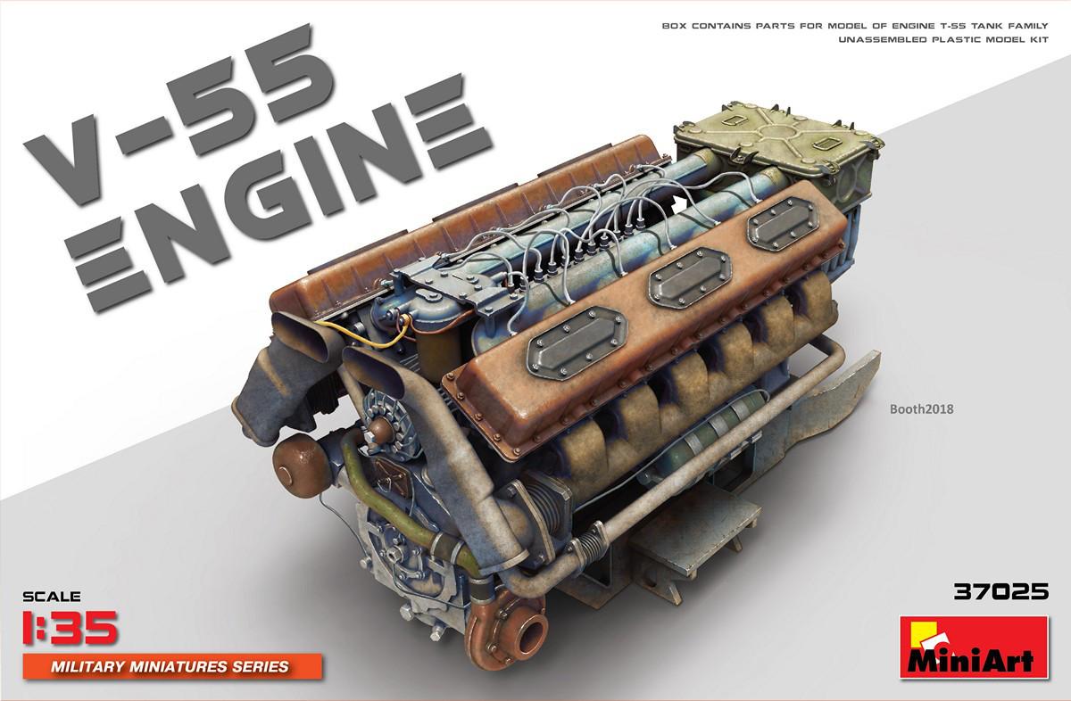 В-55. Сборная модель танкового двигателя в масштабе 1/35. MINIART 37025