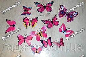 Наклейки обьемные 3D/3Д бабочки на стену,холодильник для декора - розовая серия