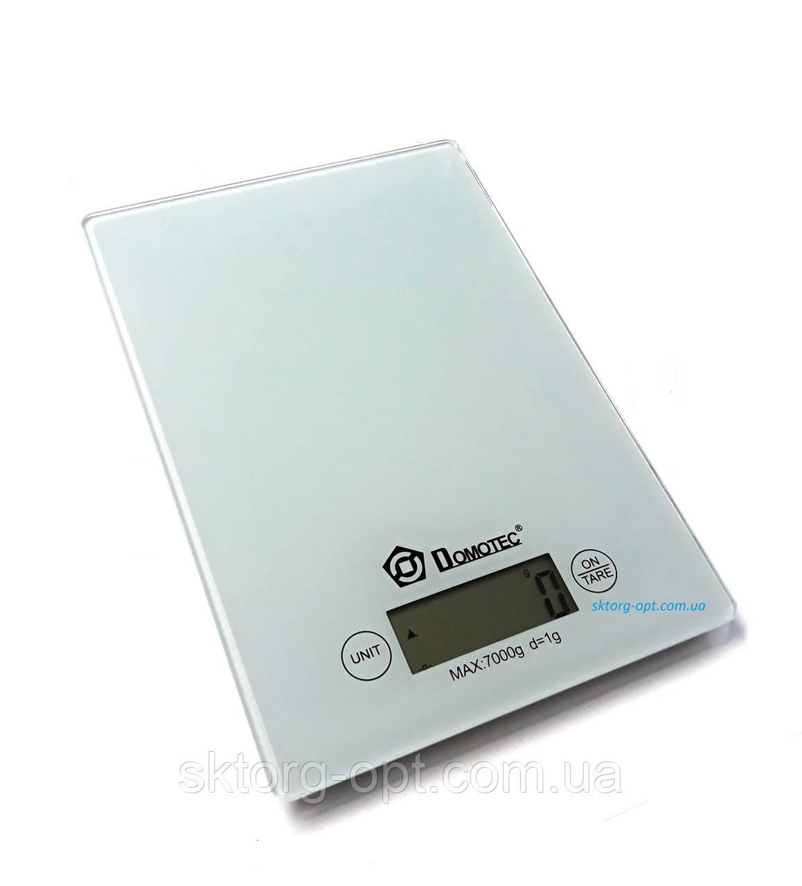 Весы кухонные Domotec MS-912 стекло до 7кг Белые