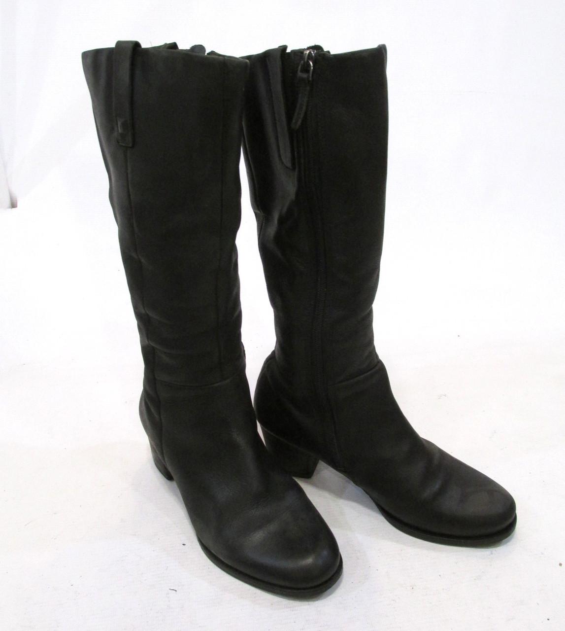 Сапожки кожаные Ecco, 37 (24 см), утепленные, демисезонные, черные, От