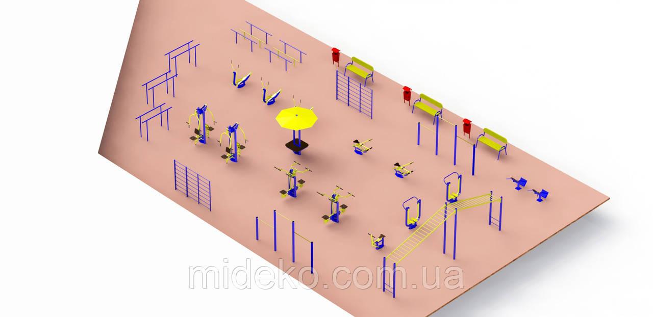 Спортивная площадка с уличными тренажерами 2149