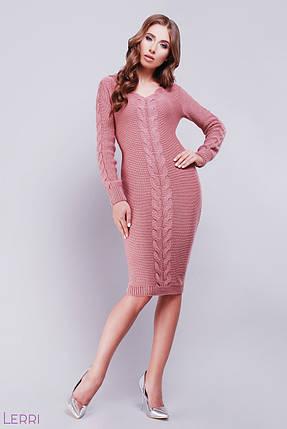 c2ddebdf47d Теплое вязаное платье миди длинный рукав по фигуре однотонное узор коса  розовое