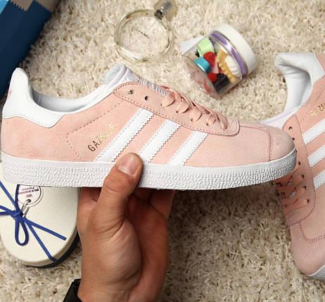 Женские кроссовки в стиле Adidas Gazelle Vapour Pink/White, фото 2