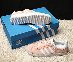 Женские кроссовки в стиле Adidas Gazelle Vapour Pink/White, фото 3