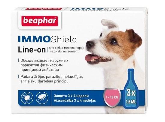 Капли Beaphar Immo Shield Line-On (капли от блох, клещей и комаров) для собак до 15кг