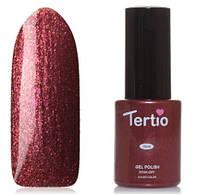 Гель-лак Tertio №91 коричневый цвет с золотистыми/розовыми микроблестками 10 мл