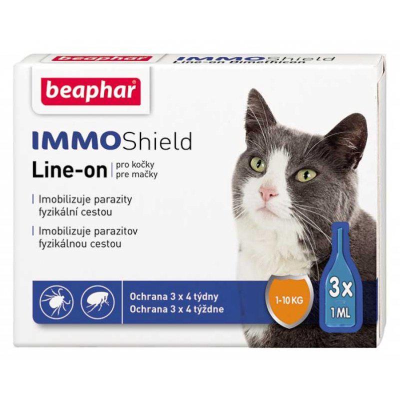 Капли Beaphar Immo Shield Line-On (от блох, клещей и комаров) для котят и взрослых котов (1 пипетка)