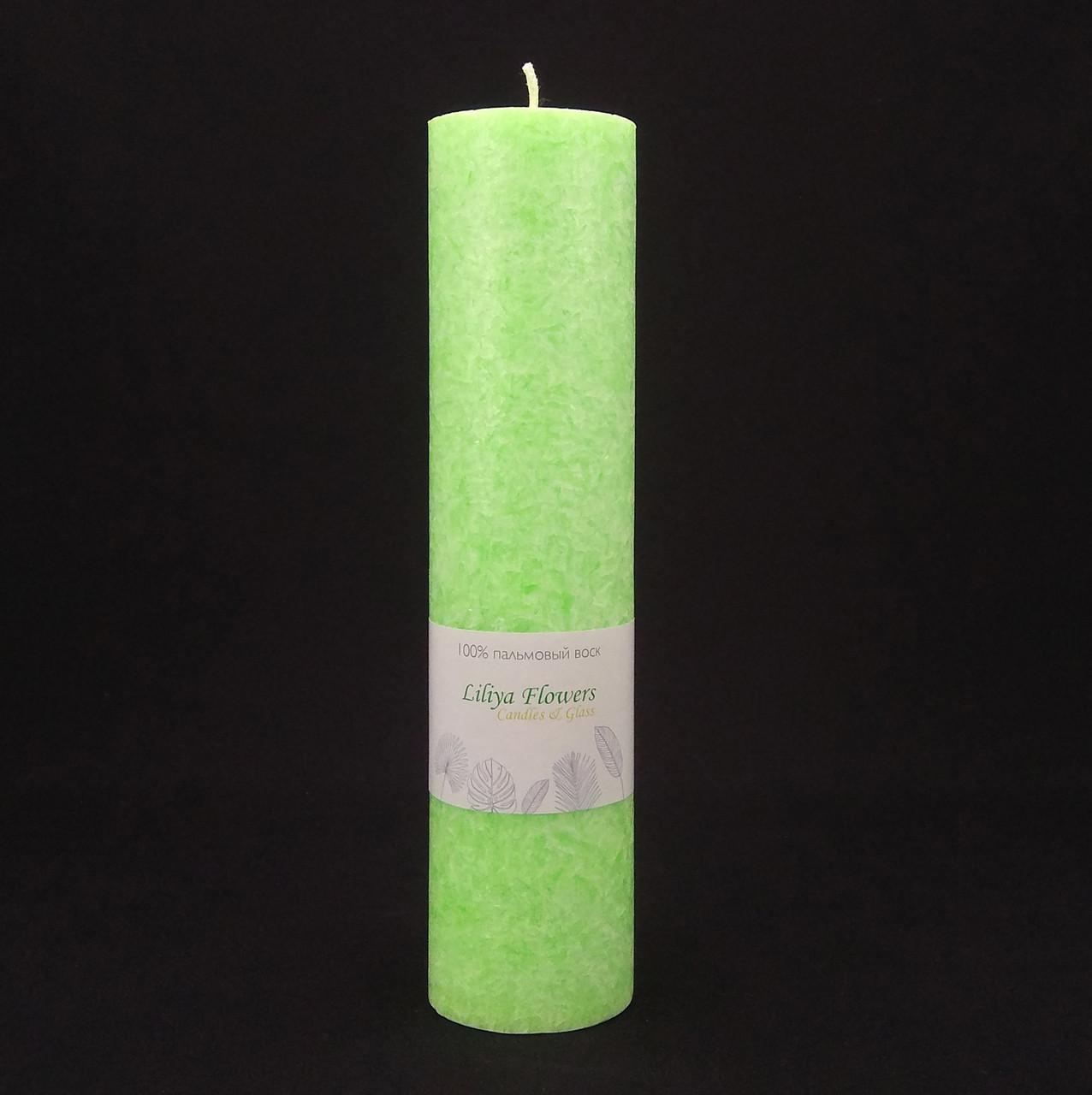 Салатовая свеча из пальмового воска h 260, Ø 60 мм