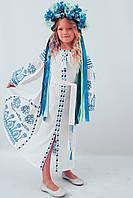 """Вышитое платье  """"РОЗКІШ 2"""" БЕЛОЕ + СИНЯЯ ВЫШИВКА  для девочки 116, 122, 128, 134, 140, 146, 152, 158 ,   купить , фото 1"""