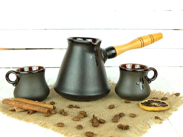 Турка Бразильская керамическая с деревянной ручкой в наборе с чашками 300 мл