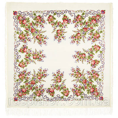 Утреннее сияние 1561-2, павлопосадский платок шерстяной (с просновками) с шелковой бахромой