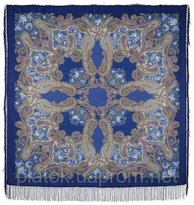 Час свидания 1570-14, павлопосадский платок шерстяной  с шелковой бахромой