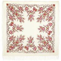 Утреннее сияние 1561-3, павлопосадский платок шерстяной (с просновками) с шелковой бахромой