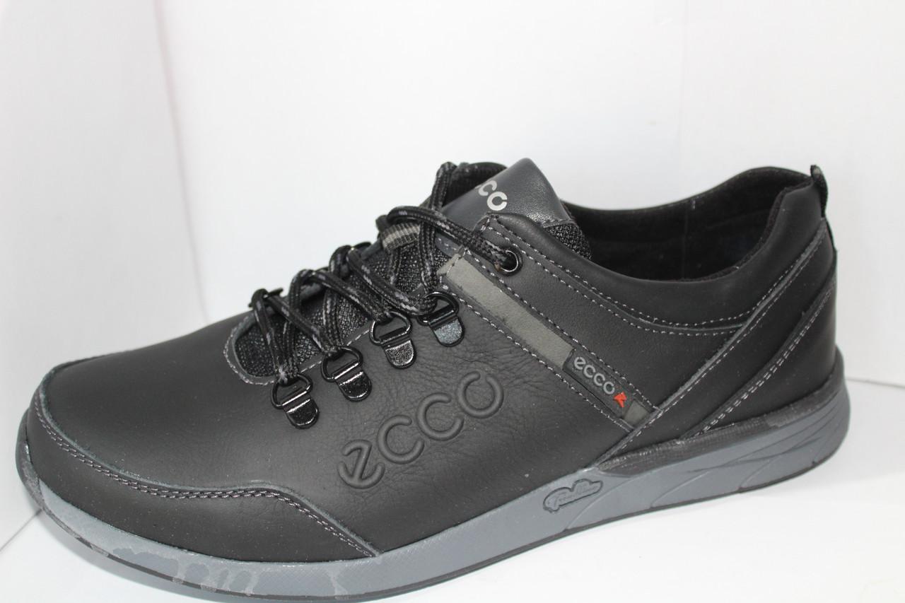 Мужские туфли Ecco чёрные кожаные закрытые на шнуровке для повседневной  носки на шнурке эко Черный 49680464d7f4b