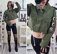 Женский джинсовый пиджак укороченный