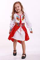 """Вышитый костюм для девочки """"УКРАЇНСЬКИЙ БУКЕТ  размеры 92, 98, 104, 110, 116, 122, 128, 134"""