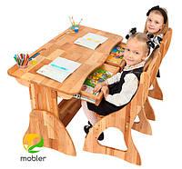 Парта растишка с ящиком Mobler 120см + два стула, фото 1