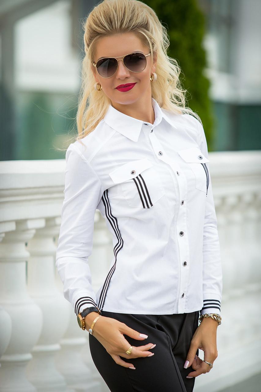 Белая рубашка с лампасами Инна