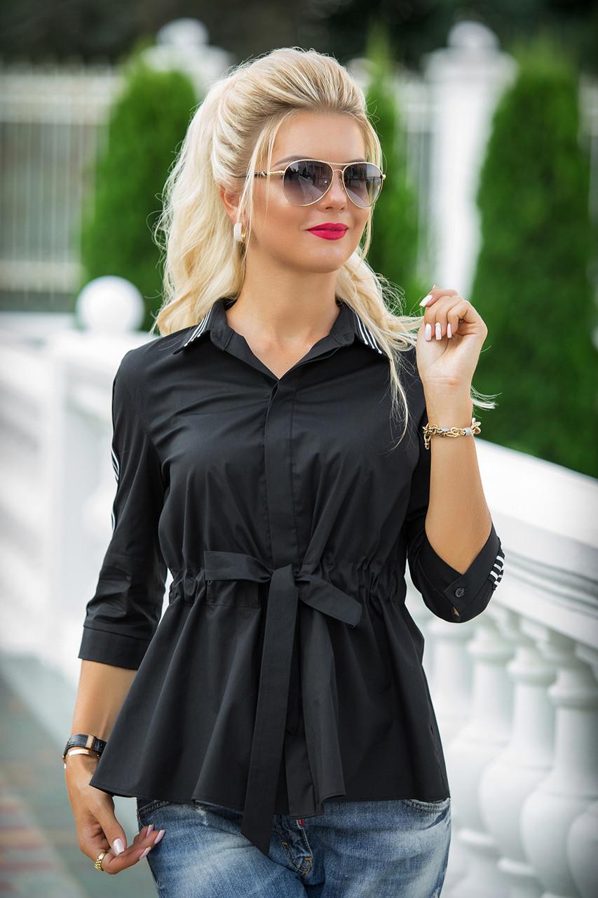Черная Рубашка с поясом Дарина