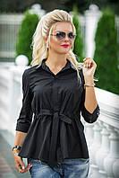 Черная Рубашка с поясом Дарина, фото 1