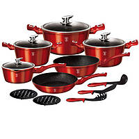 Набор посуды Berlinger Haus 15 предметов Metallic Line BURGUNDY Edition BH 1226N