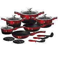 Набор посуды Berlinger Haus 15 предметовMetallic Line BLACK BURGUNDY Edition BH 1632N