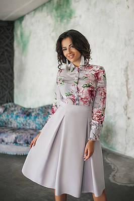 Платье женское с имитацией блузы (с цветами)