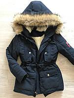 Детская зимняя парка на овчине с капюшоном с мехом (под заказ 5-7дней), фото 1