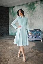 Платье с имитацией блузы с расклешенной юбкой со встречными складками